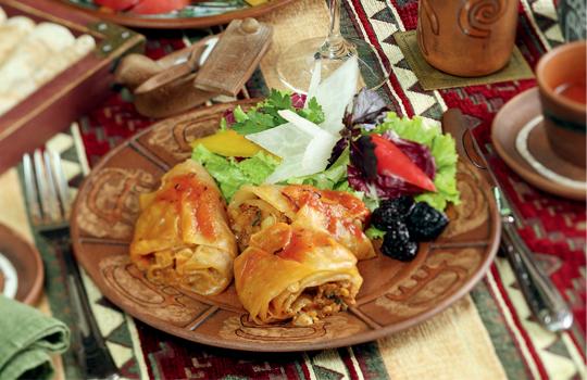 Блюдо из грибов мяса и гречки