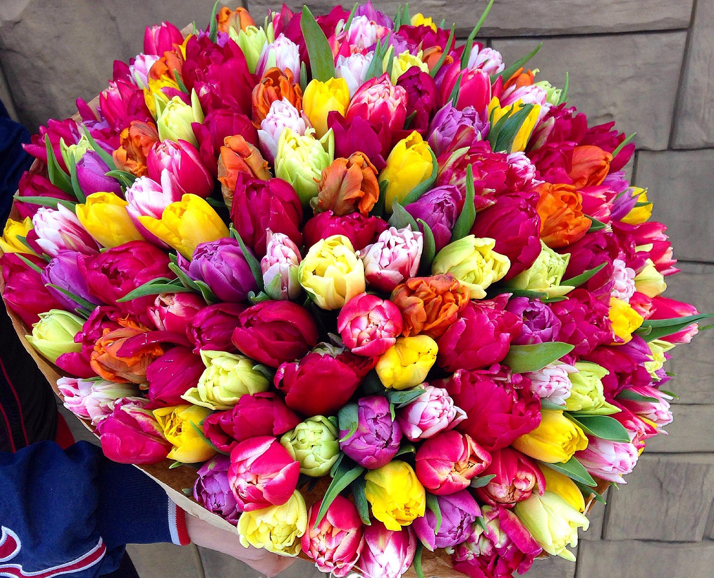 Огромная охапка цветов фото