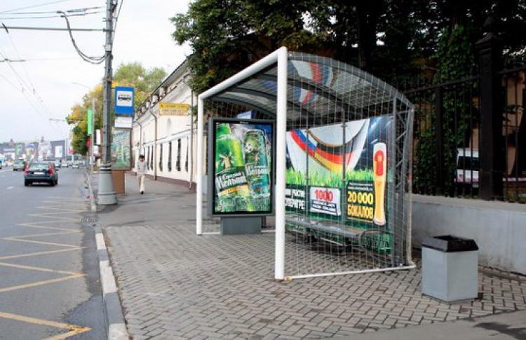Появились автобусные остановки вформе футбольных ворот