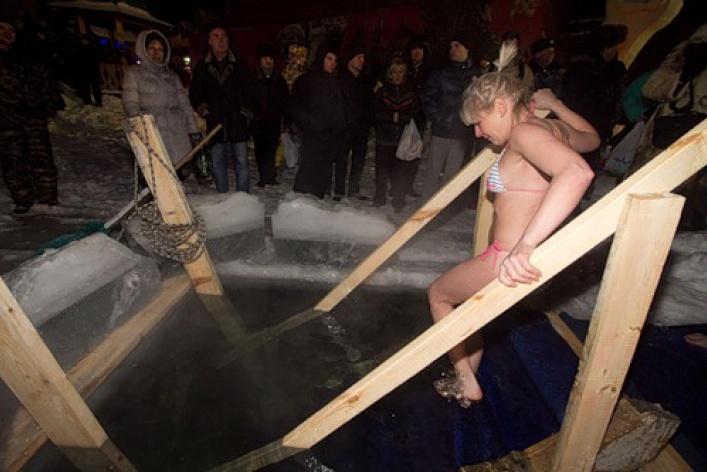 Как вМоскве купались наКрещение
