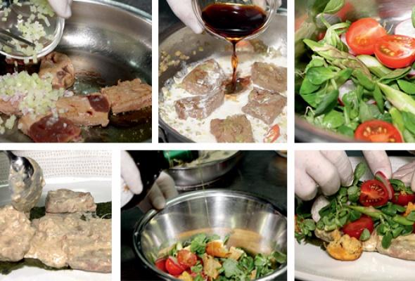 Рецепт: Телячья печень слистьями салата корн, свежим чили, молодым редисом ичиабаттой - Фото №2