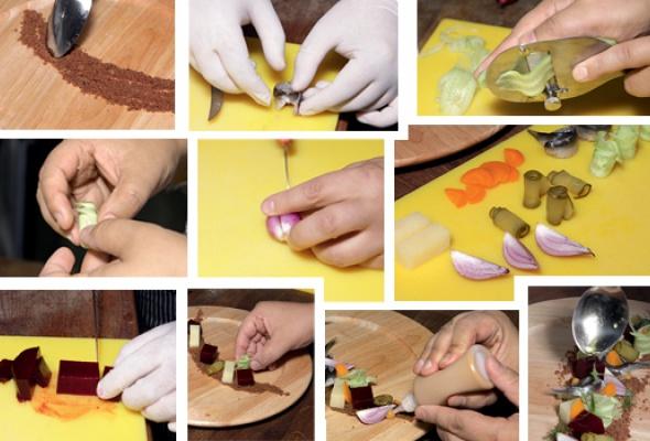 Рецепт: Винегрет иззапеченных овощей сбалтийской килькой наржаной крошке - Фото №2