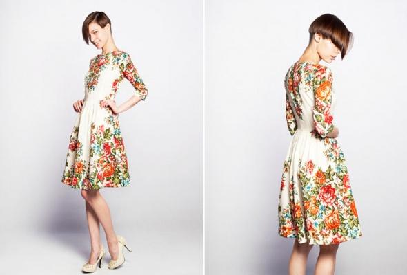 Даша Померанцева сшила коллекцию платьев изпавлово-посадских шерстяных платков - Фото №2