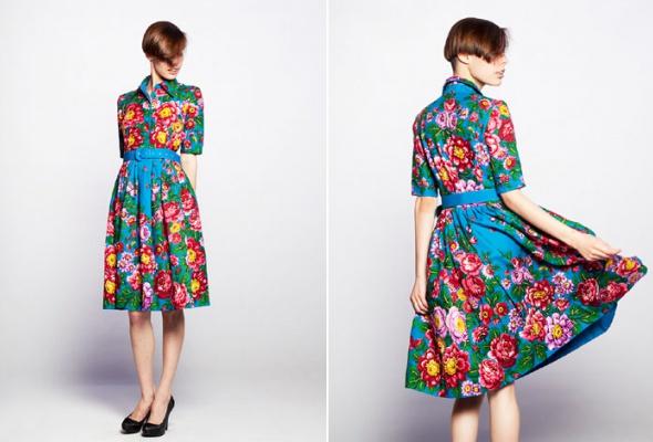 Даша Померанцева сшила коллекцию платьев изпавлово-посадских шерстяных платков - Фото №3