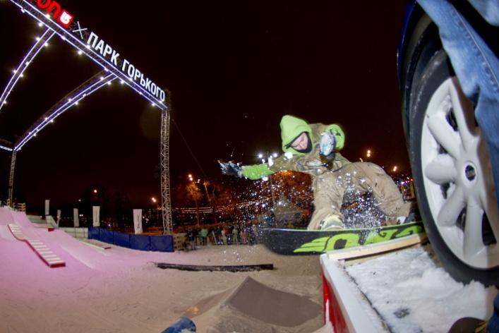 ВПарке Горького открылась сноубордическая площадка для начинающих