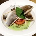 Сибас сзапеченными овощами исупом избазилика
