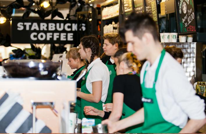 Открытие новой кофейни Starbucks