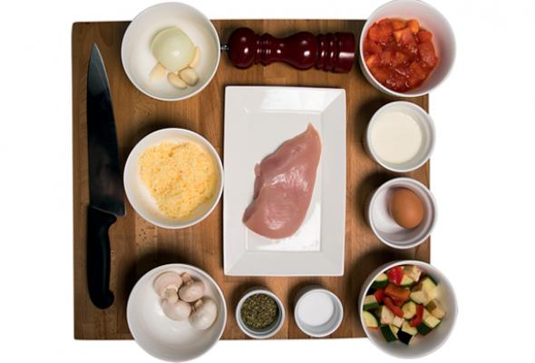 Рецепт: Фаршированное изапеченное под сыром филе цыпленка срататуем - Фото №1