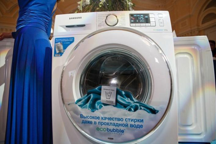 Компания Samsung представила новую стиральную машину Samsung EcoBubble серии Crystal