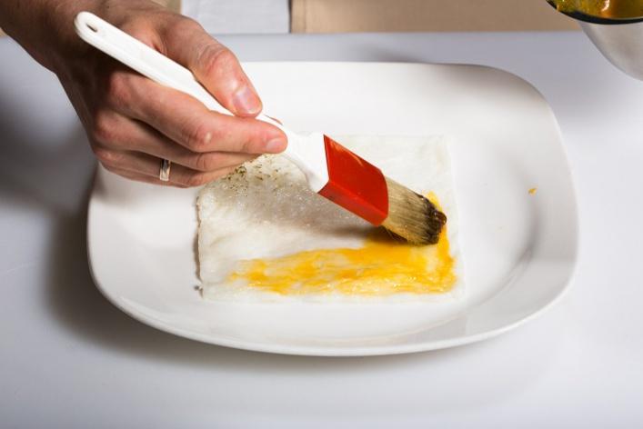 Севиче изчилийского сибаса скровавыми апельсинами имороженым изкаракатицы