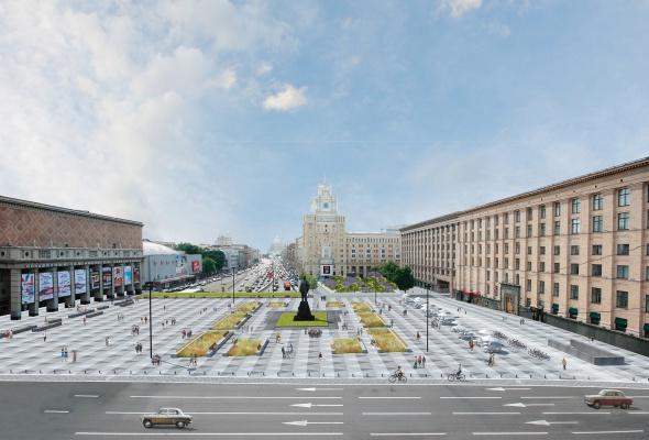 вокМосквичи могут сами выбрать вариант благоустройства Триумфальной площади  - Фото №0