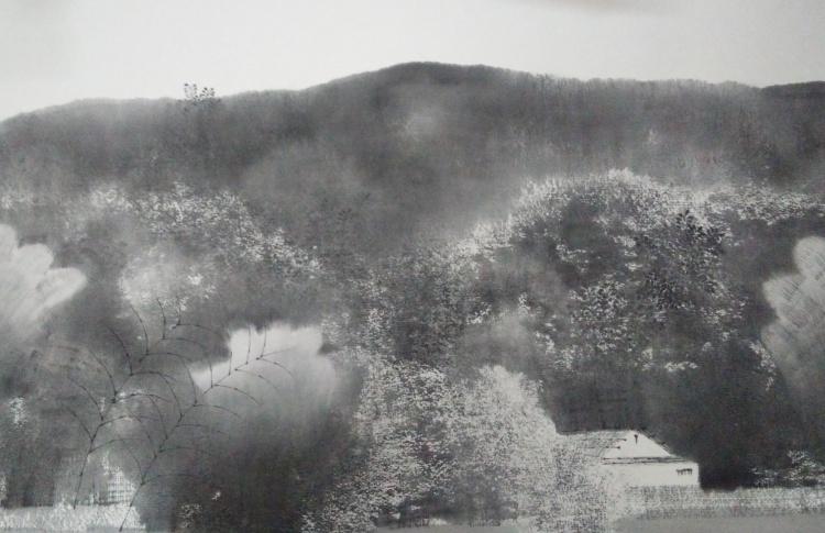 Яркая Нева: тушь и живопись