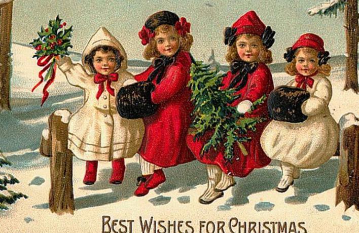 Символы Рождества на открытках
