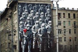 Граффити со «Звездными войнами» на Красных воротах потребовали закрасить