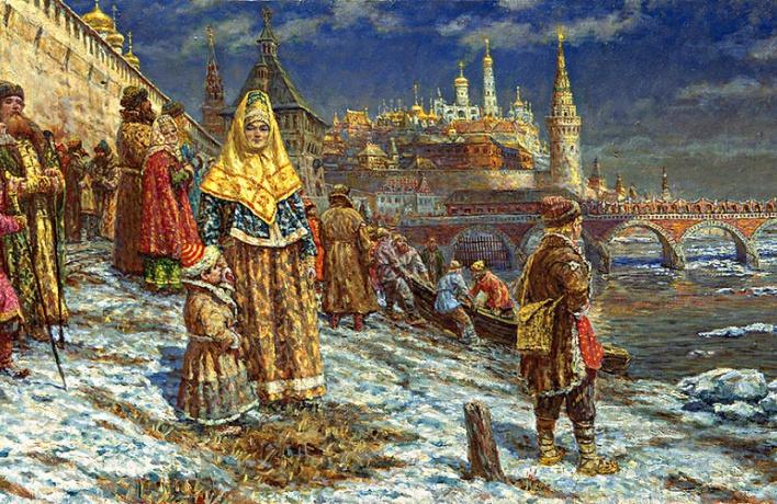 Женщина плавала по Москве-реке на льдине