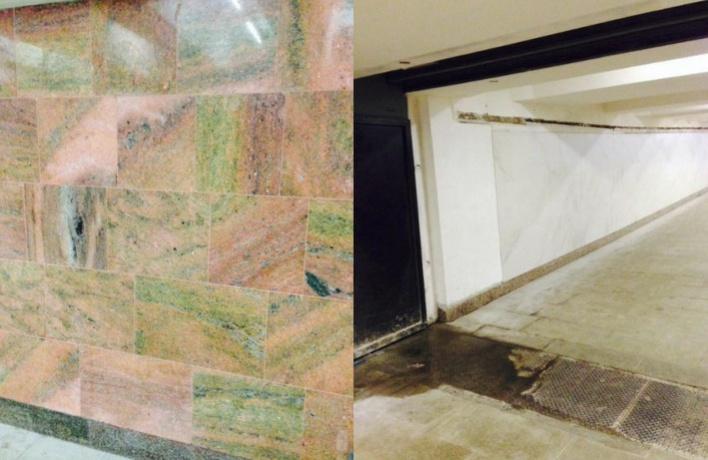 В московском метро со стен отдирают мраморную облицовку