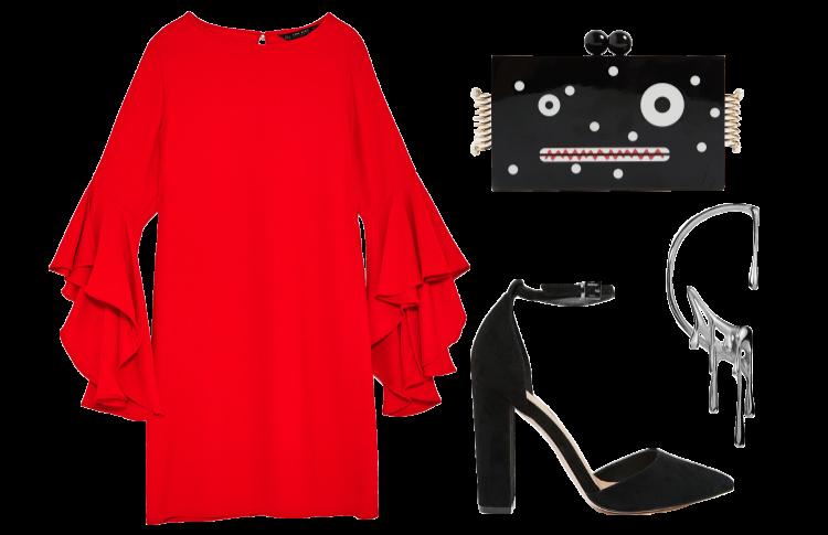 Яркое платье и высокие каблуки
