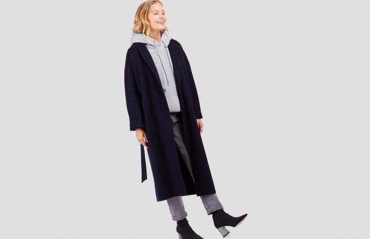 Пальто-халат прямого кроя