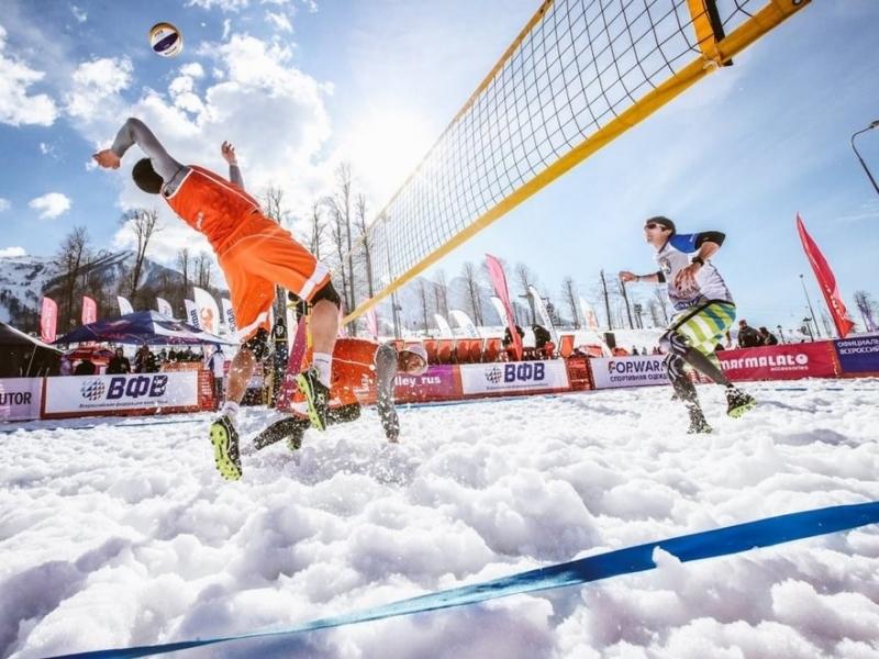 Волейбол в картинках на снегу