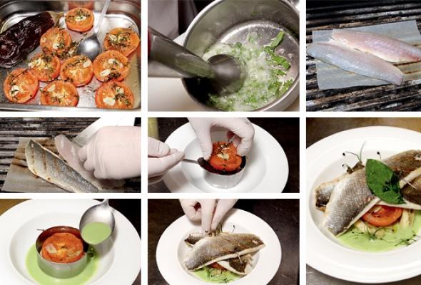 Сибас сзапеченными овощами исупом избазилика - Фото №2