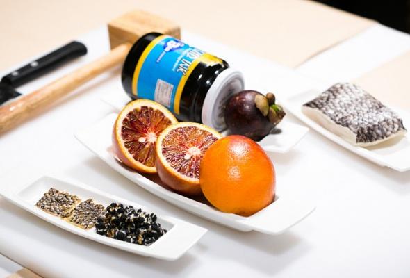 Севиче изчилийского сибаса скровавыми апельсинами имороженым изкаракатицы - Фото №0