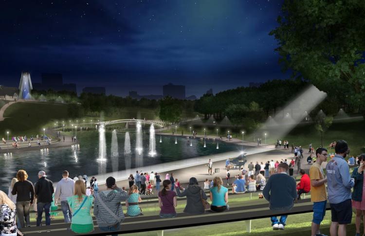 В Олимпийском парке поставят световые колонны и откроют сцену на воде