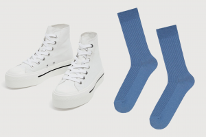 Идеальное сочетание: высокие кеды и носки в рубчик