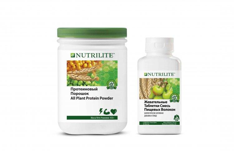 Жевательные таблетки «Смесь пищевых волокон» и протеиновый порошок